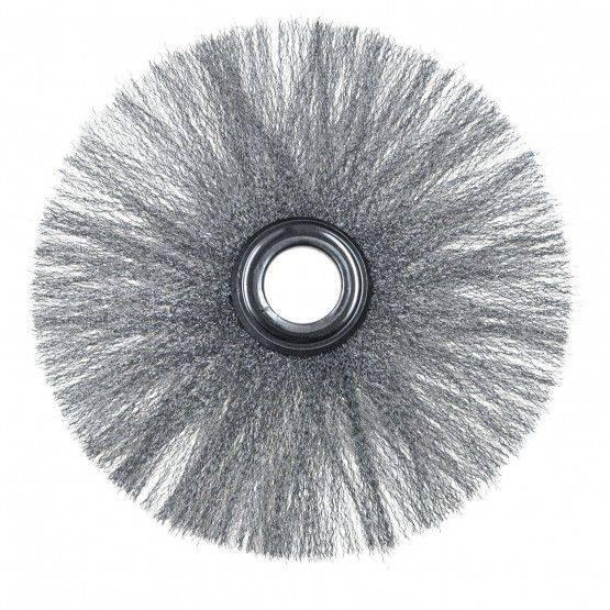 Spazzola inox ondulato, con foro 28 mm